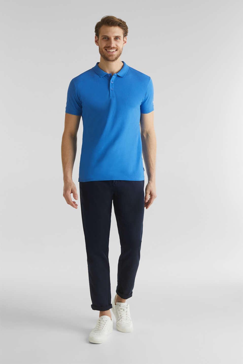 Stretch cotton piqué polo shirt, BLUE 2, detail image number 2