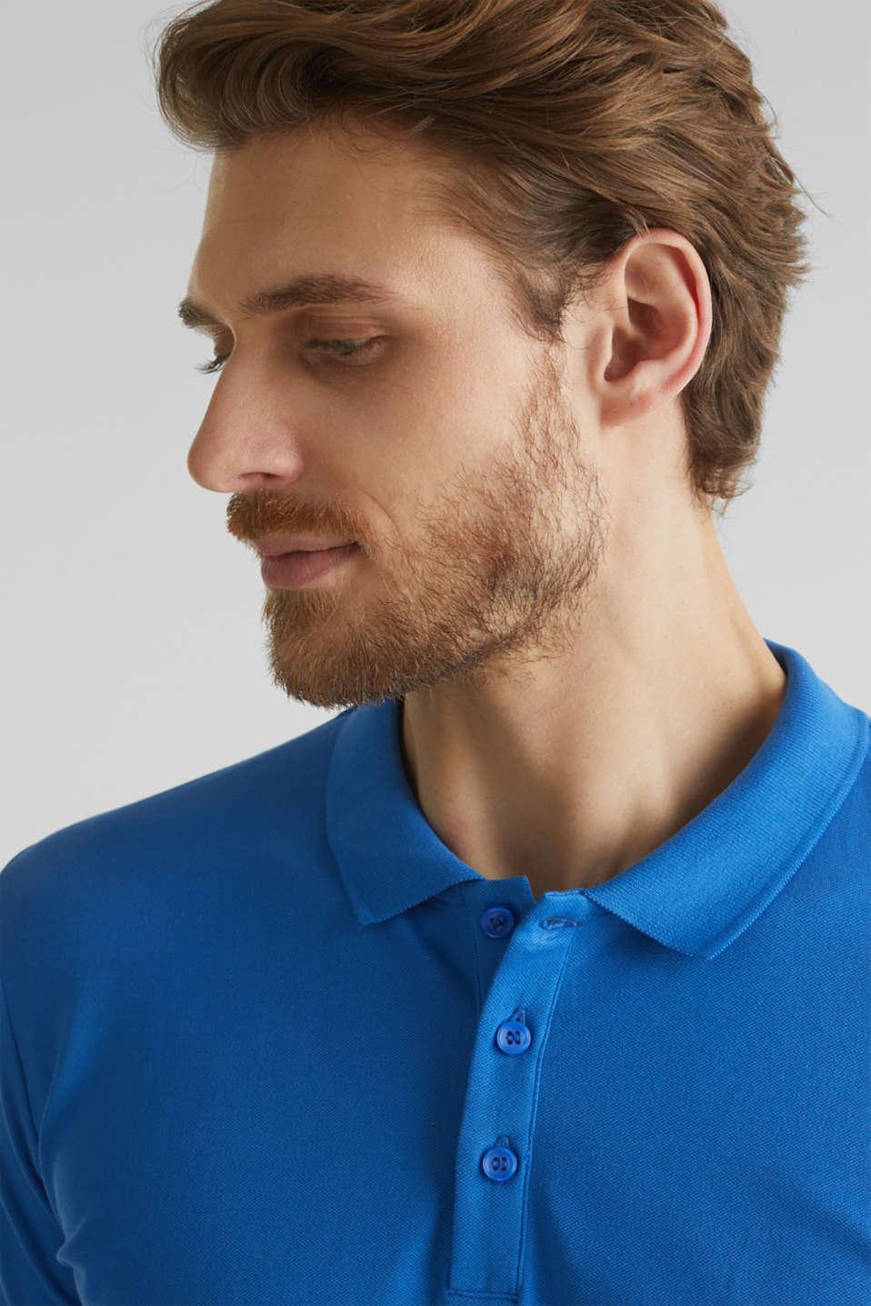 Stretch cotton piqué polo shirt, BLUE 2, detail image number 1