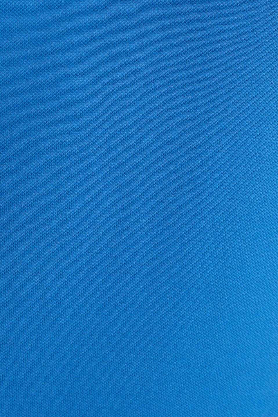 Stretch cotton piqué polo shirt, BLUE 2, detail image number 4