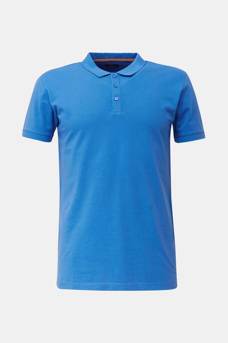 Stretch cotton piqué polo shirt, BLUE 2, detail image number 6