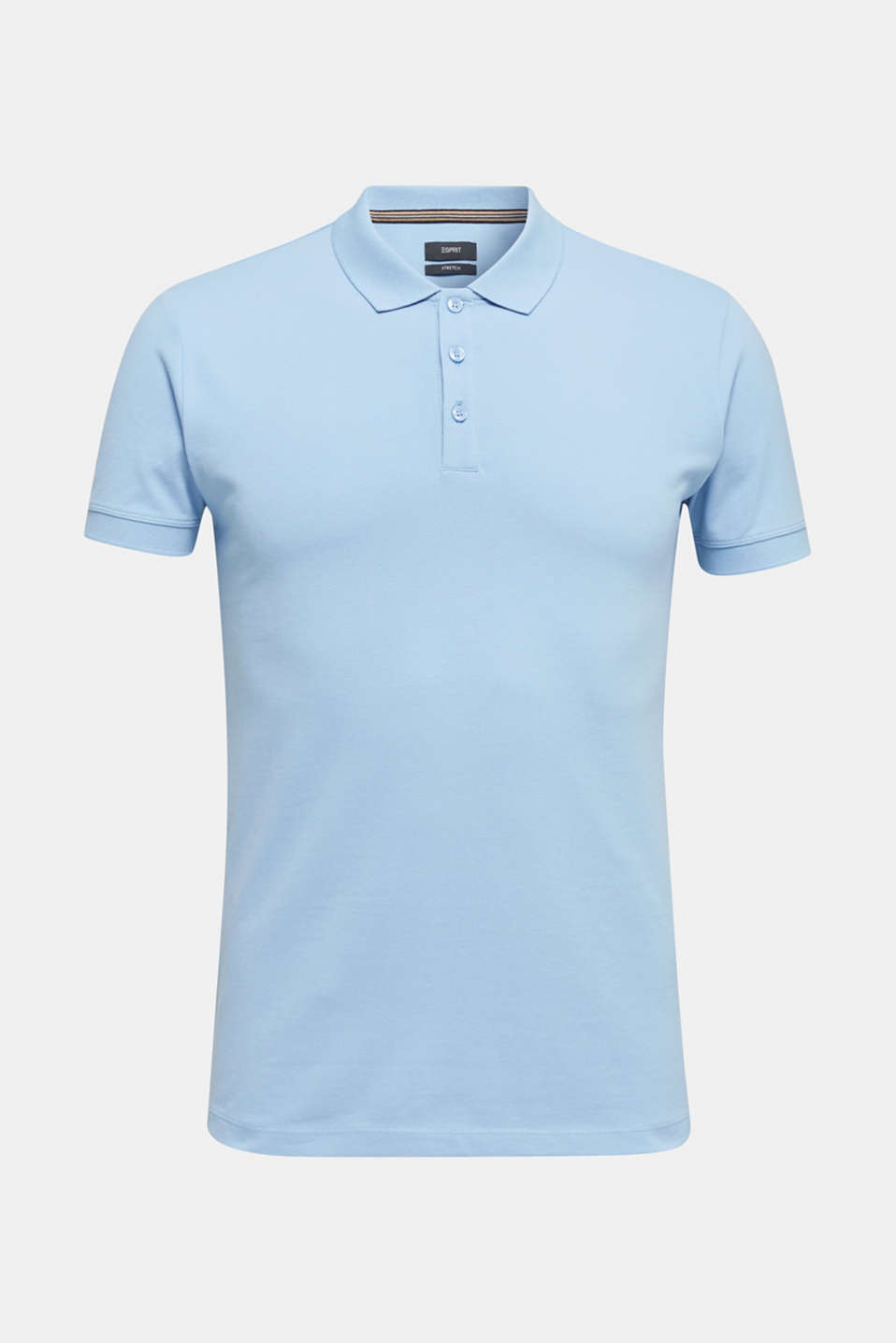 Stretch cotton piqué polo shirt, LIGHT BLUE, detail image number 5