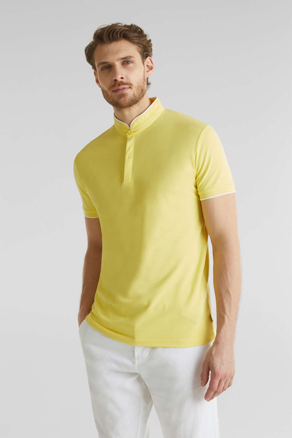 Piqué polo shirt with COOLMAX®, LIGHT YELLOW, detail image number 4