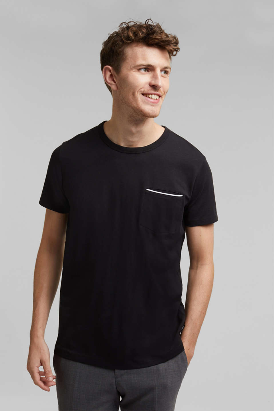 Jersey T-shirt with a pocket and COOLMAX®, BLACK, detail image number 0