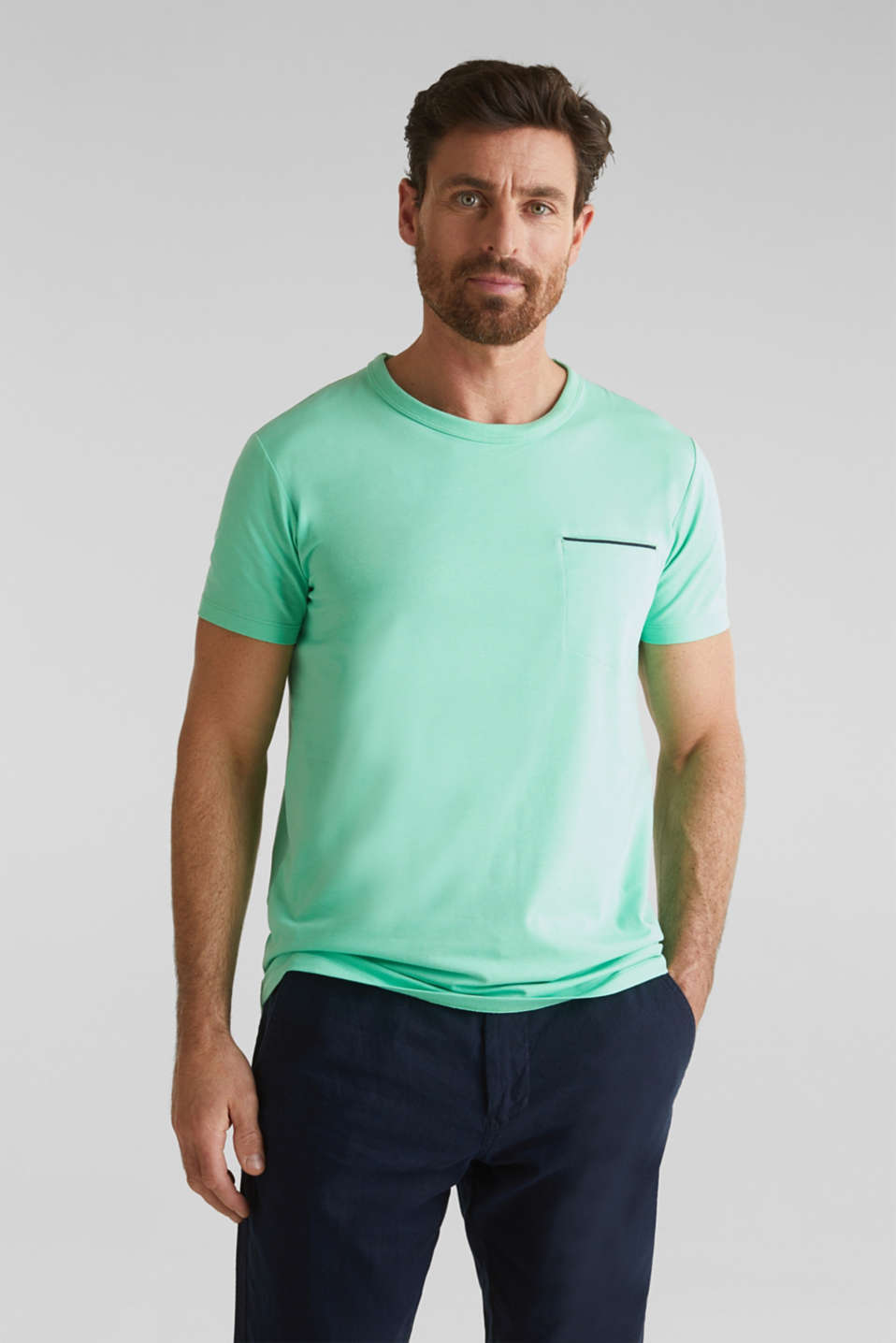 Jersey T-shirt with a pocket and COOLMAX®, LIGHT GREEN, detail image number 0