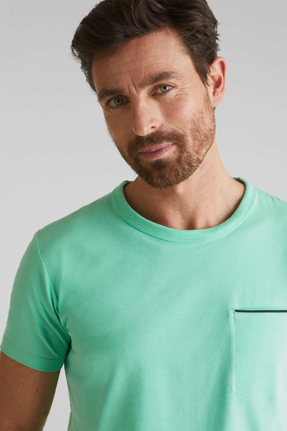 Jersey T-shirt with a pocket and COOLMAX®, LIGHT GREEN, detail image number 1