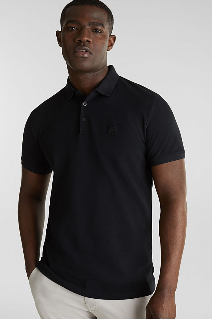 Piqué polo shirt made of 100% pima cotton, BLACK, overview
