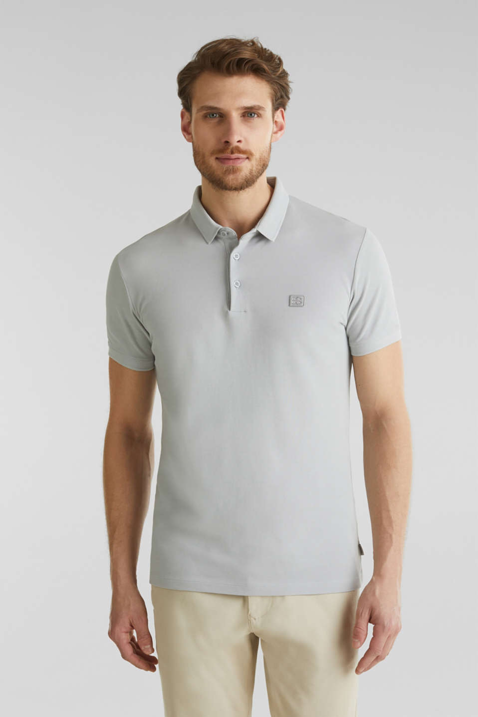 Piqué polo shirt made of 100% pima cotton, LIGHT GREY, detail image number 0