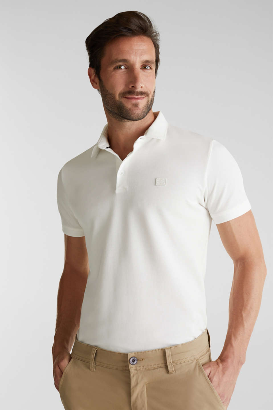 Piqué polo shirt made of 100% pima cotton, OFF WHITE, detail image number 0