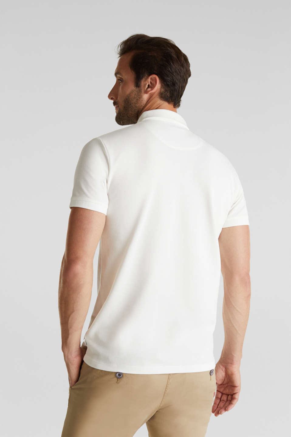 Piqué polo shirt made of 100% pima cotton, OFF WHITE, detail image number 3