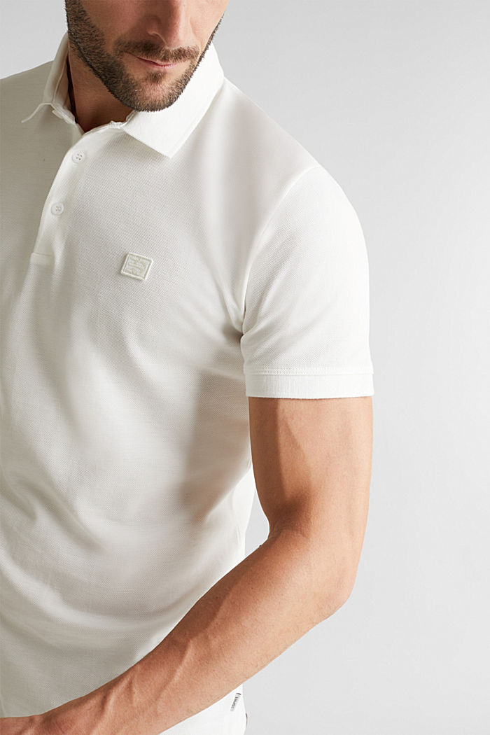 Piqué polo shirt made of 100% pima cotton, OFF WHITE, detail image number 1