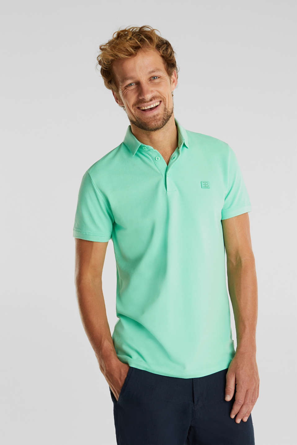 Piqué polo shirt made of 100% pima cotton, LIGHT GREEN, detail image number 0