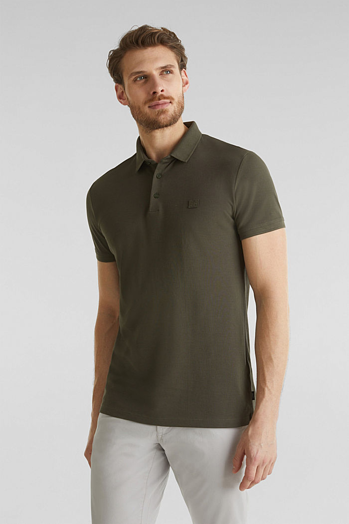 Piqué-Poloshirt aus 100% Pima Cotton, DARK KHAKI, overview