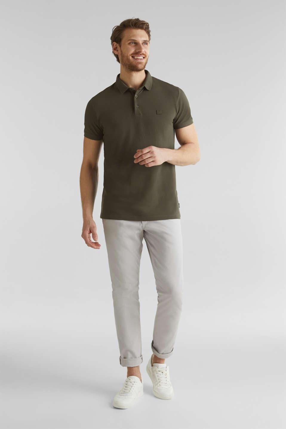 Piqué polo shirt made of 100% pima cotton, DARK KHAKI, detail image number 2