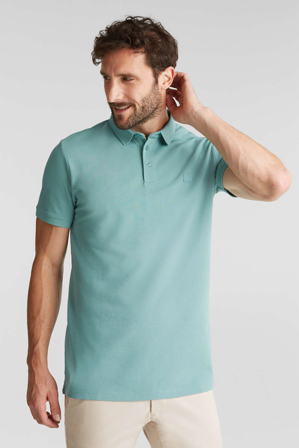 Piqué polo shirt made of 100% pima cotton, TEAL GREEN, detail image number 0