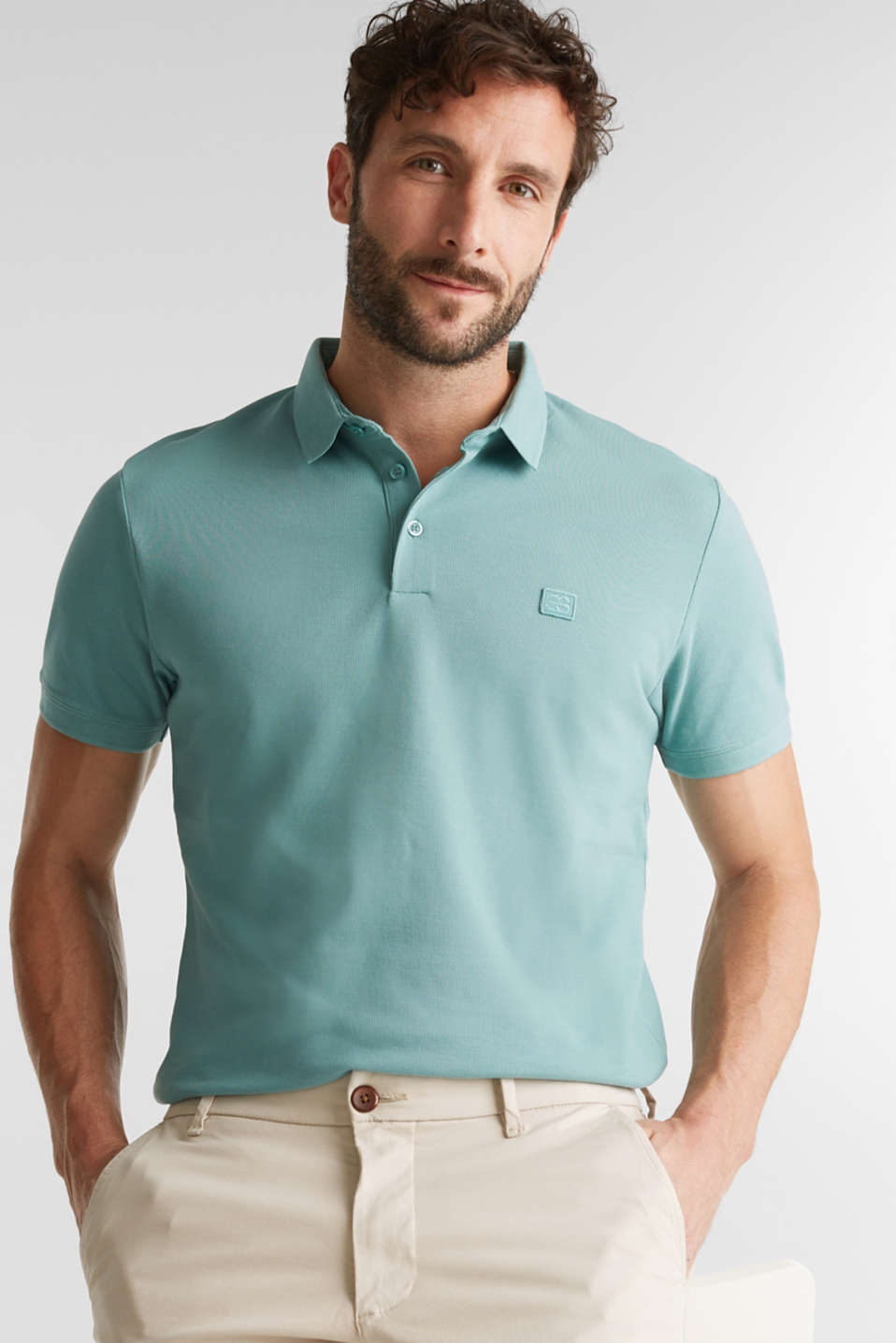 Piqué polo shirt made of 100% pima cotton, TEAL GREEN, detail image number 5