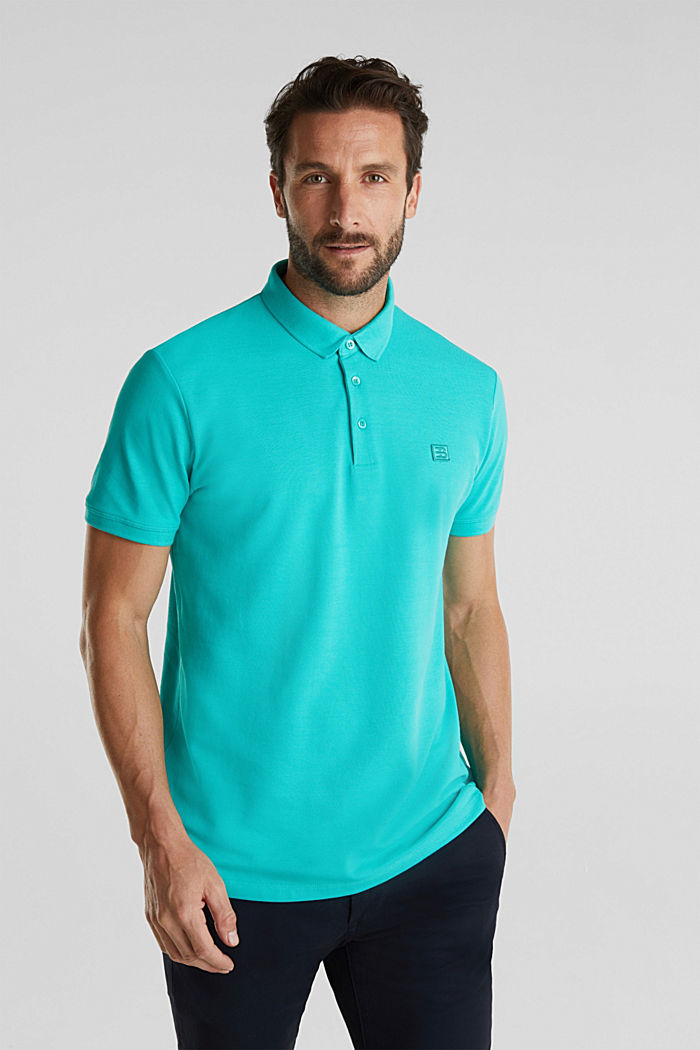 Piqué-Poloshirt aus 100% Pima Cotton, AQUA GREEN, detail image number 0