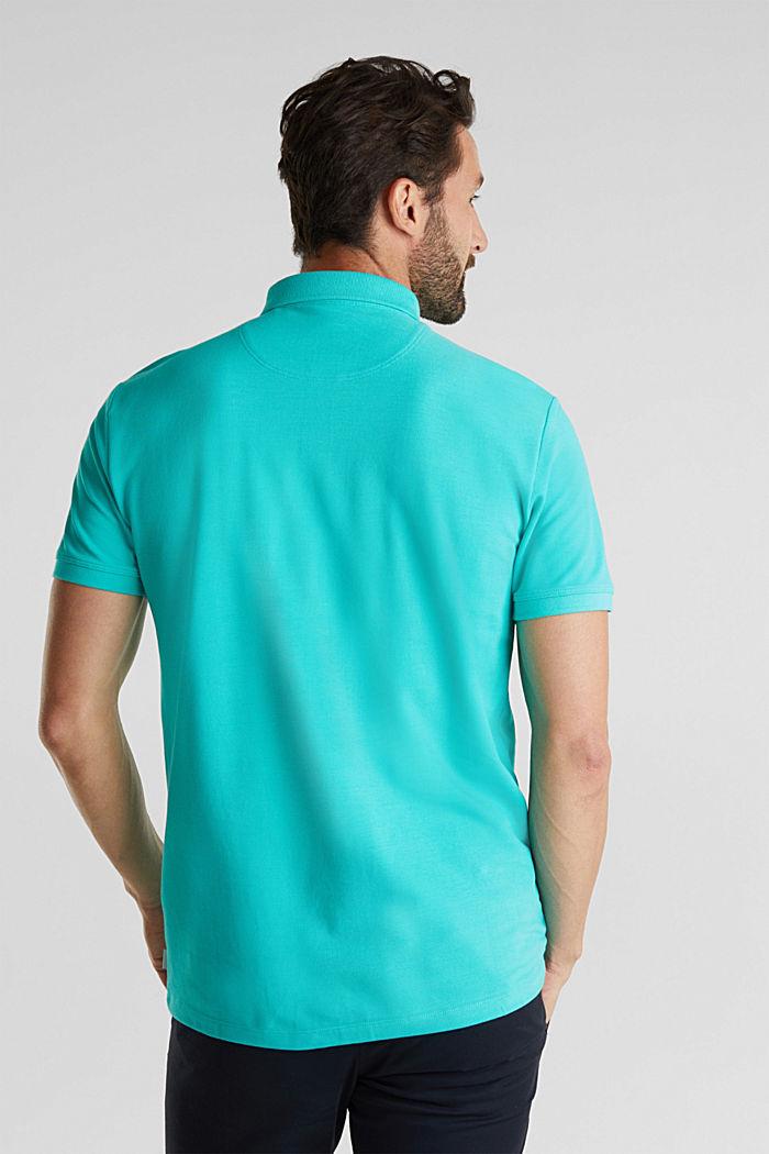 Piqué-Poloshirt aus 100% Pima Cotton, AQUA GREEN, detail image number 3