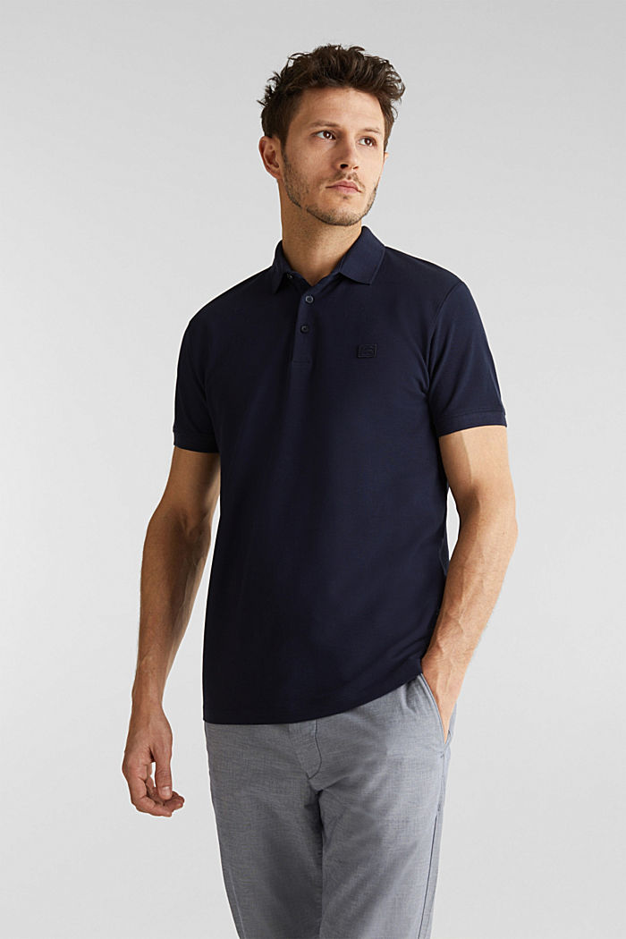 Piqué polo shirt made of 100% pima cotton, NAVY, detail image number 0