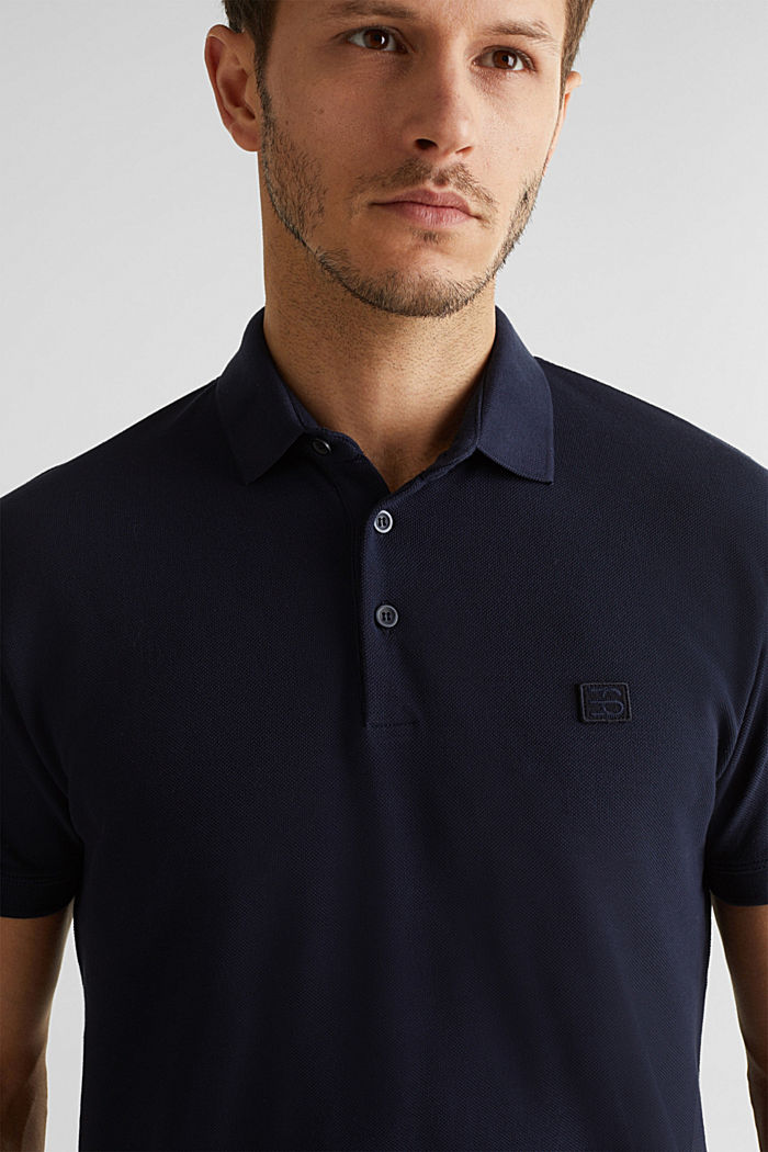 Piqué-Poloshirt aus 100% Pima Cotton, NAVY, overview