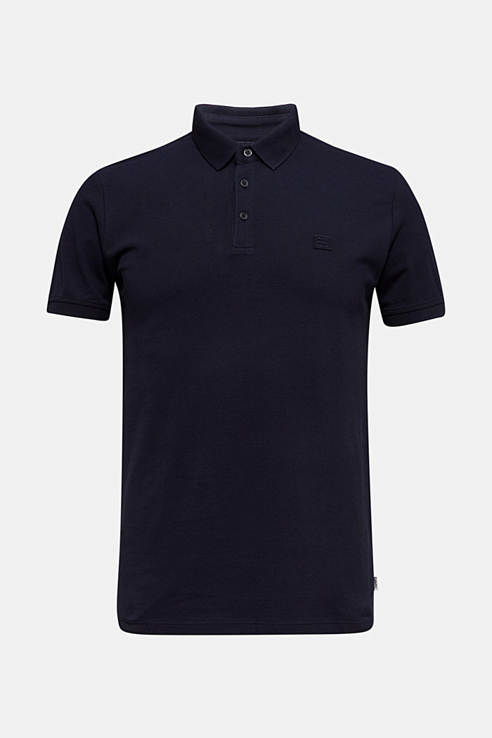 Piqué polo shirt made of 100% pima cotton, NAVY, overview