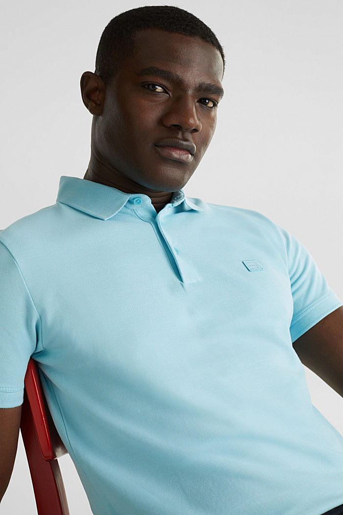 Piqué polo shirt made of 100% pima cotton, PASTEL BLUE, detail image number 5