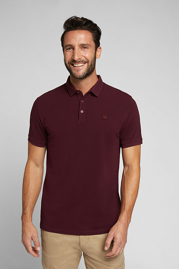 Piqué polo shirt made of 100% pima cotton, DARK RED, detail image number 0