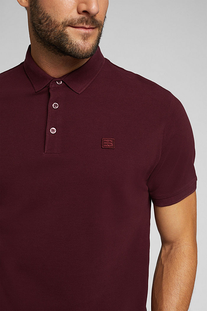 Piqué polo shirt made of 100% pima cotton, DARK RED, detail image number 1