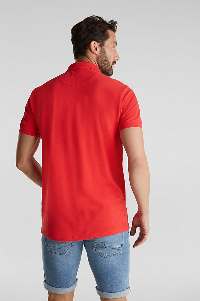 Piqué polo shirt made of 100% pima cotton, CORAL RED, detail image number 3