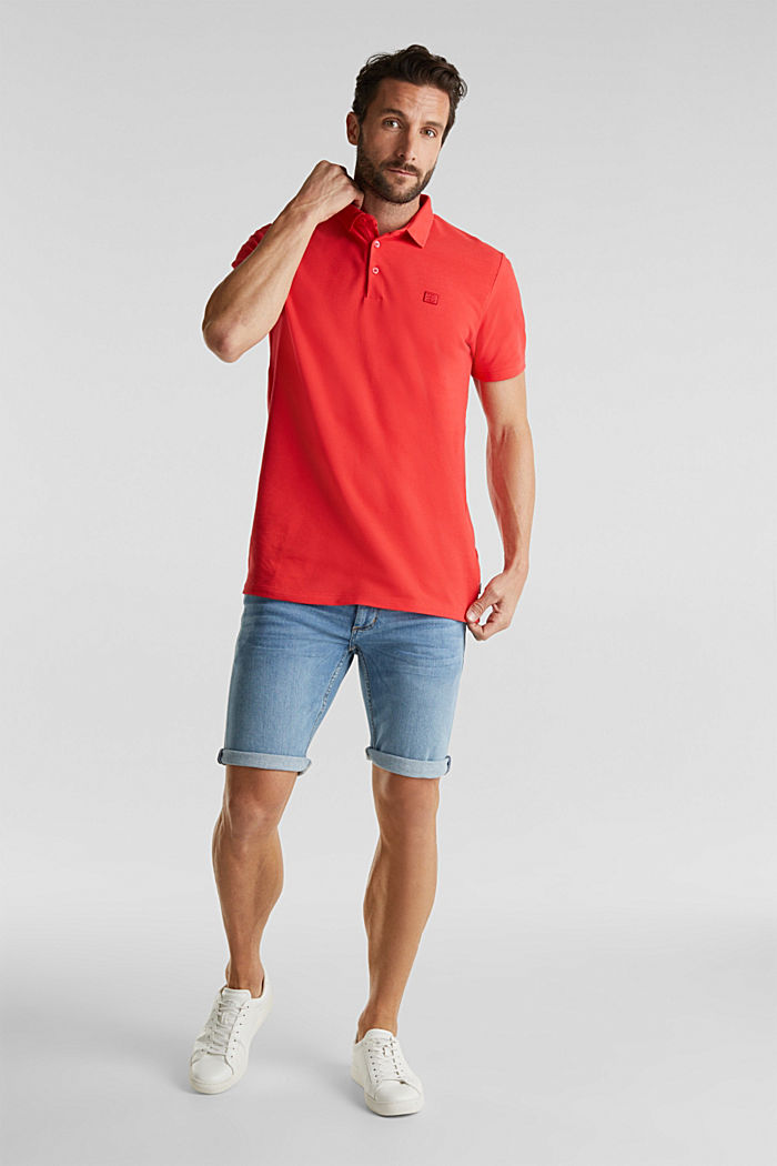 Piqué polo shirt made of 100% pima cotton, CORAL RED, detail image number 2