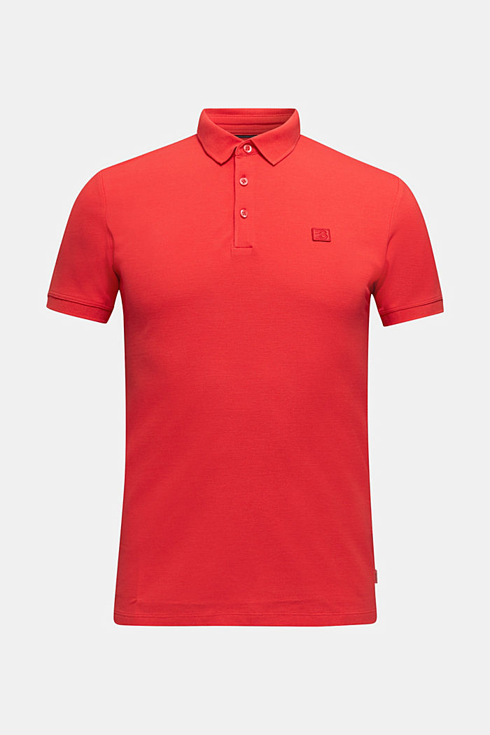 Piqué polo shirt made of 100% pima cotton, CORAL RED, overview