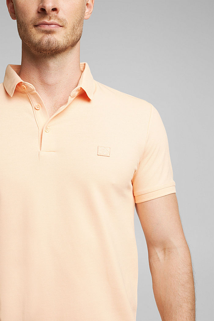 Piqué polo shirt made of 100% pima cotton, PEACH, detail image number 1