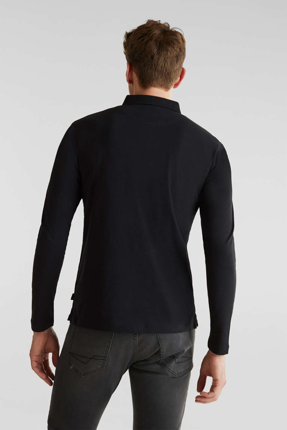 Long sleeve jersey top in 100% cotton, BLACK, detail image number 3