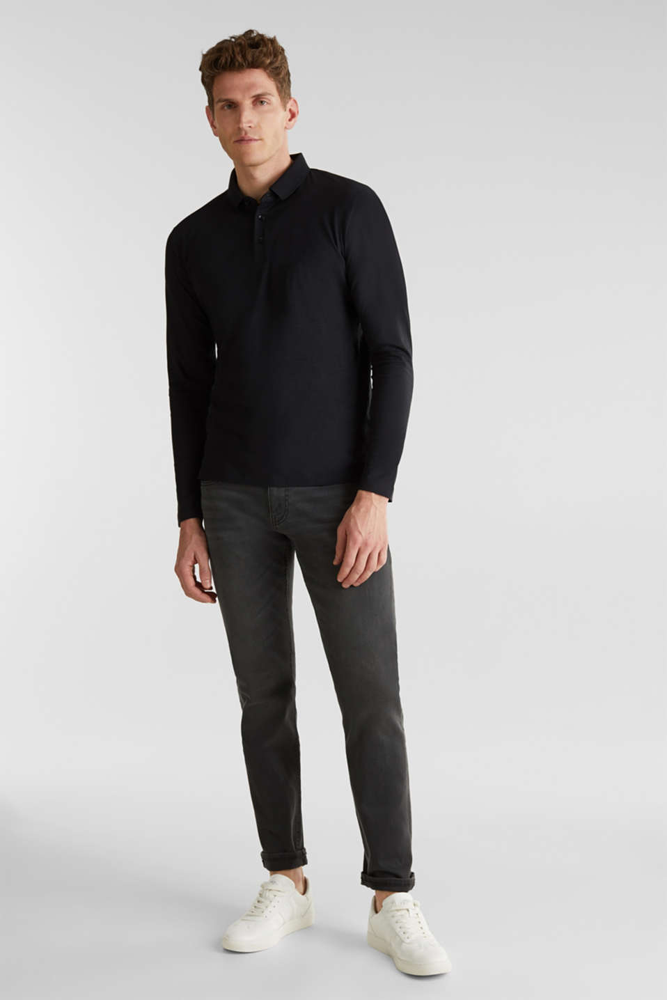 Long sleeve jersey top in 100% cotton, BLACK, detail image number 2
