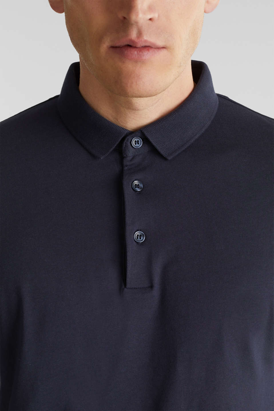 Long sleeve jersey top in 100% cotton, NAVY, detail image number 1