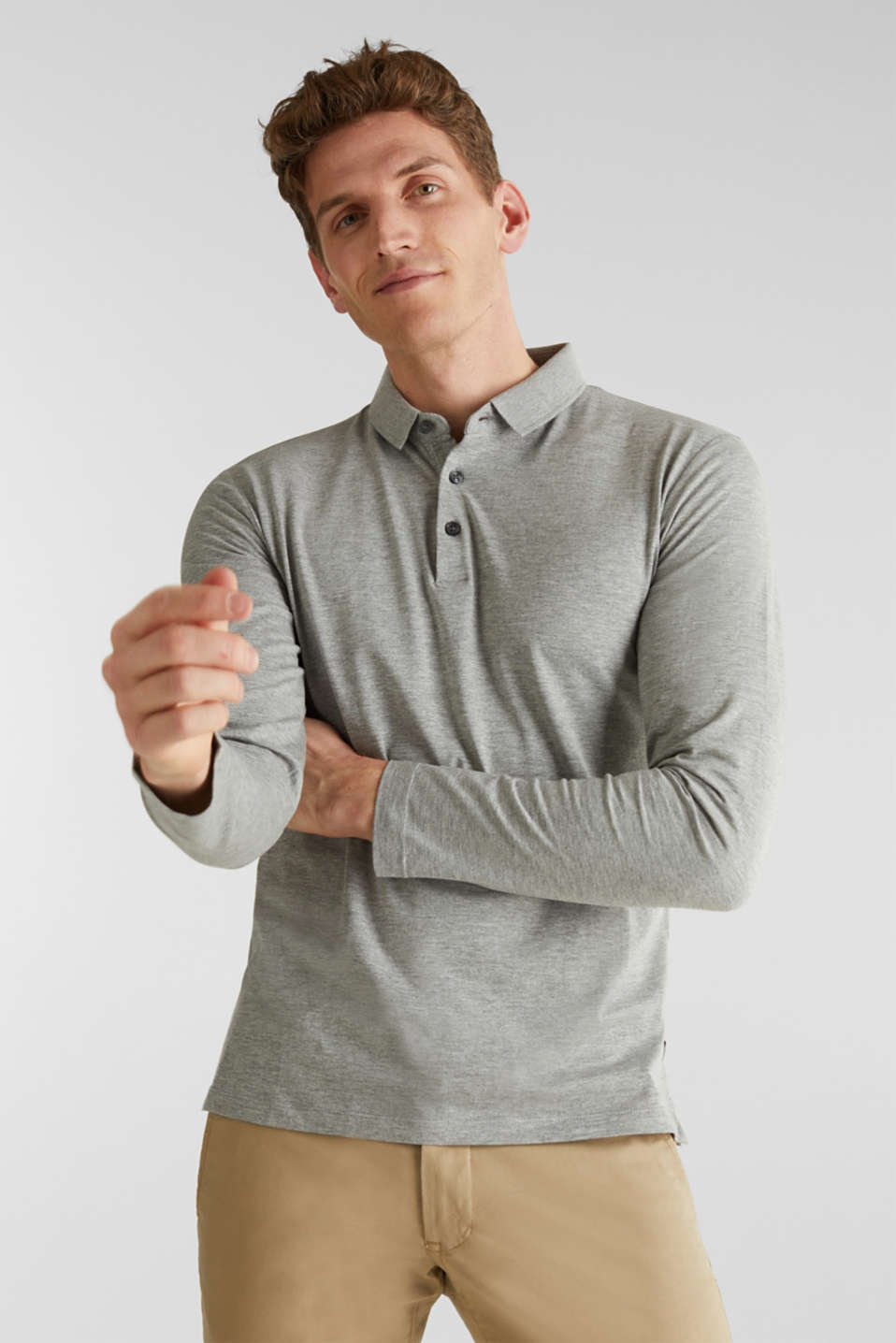 Esprit - Jersey long sleeve top with a polo shirt collar