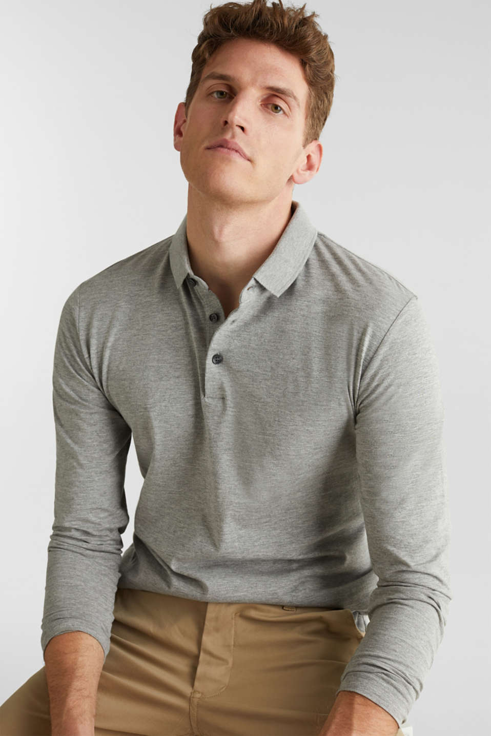 Jersey long sleeve top with a polo shirt collar, MEDIUM GREY 5, detail image number 4