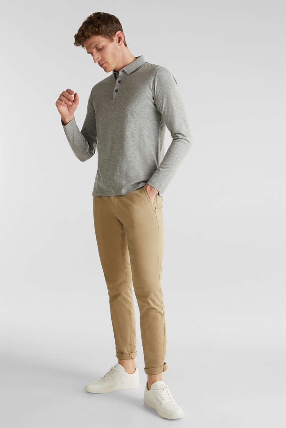 Jersey long sleeve top with a polo shirt collar, MEDIUM GREY 5, detail image number 2