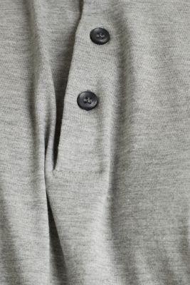 Jersey long sleeve top with a polo shirt collar, MEDIUM GREY 5, detail
