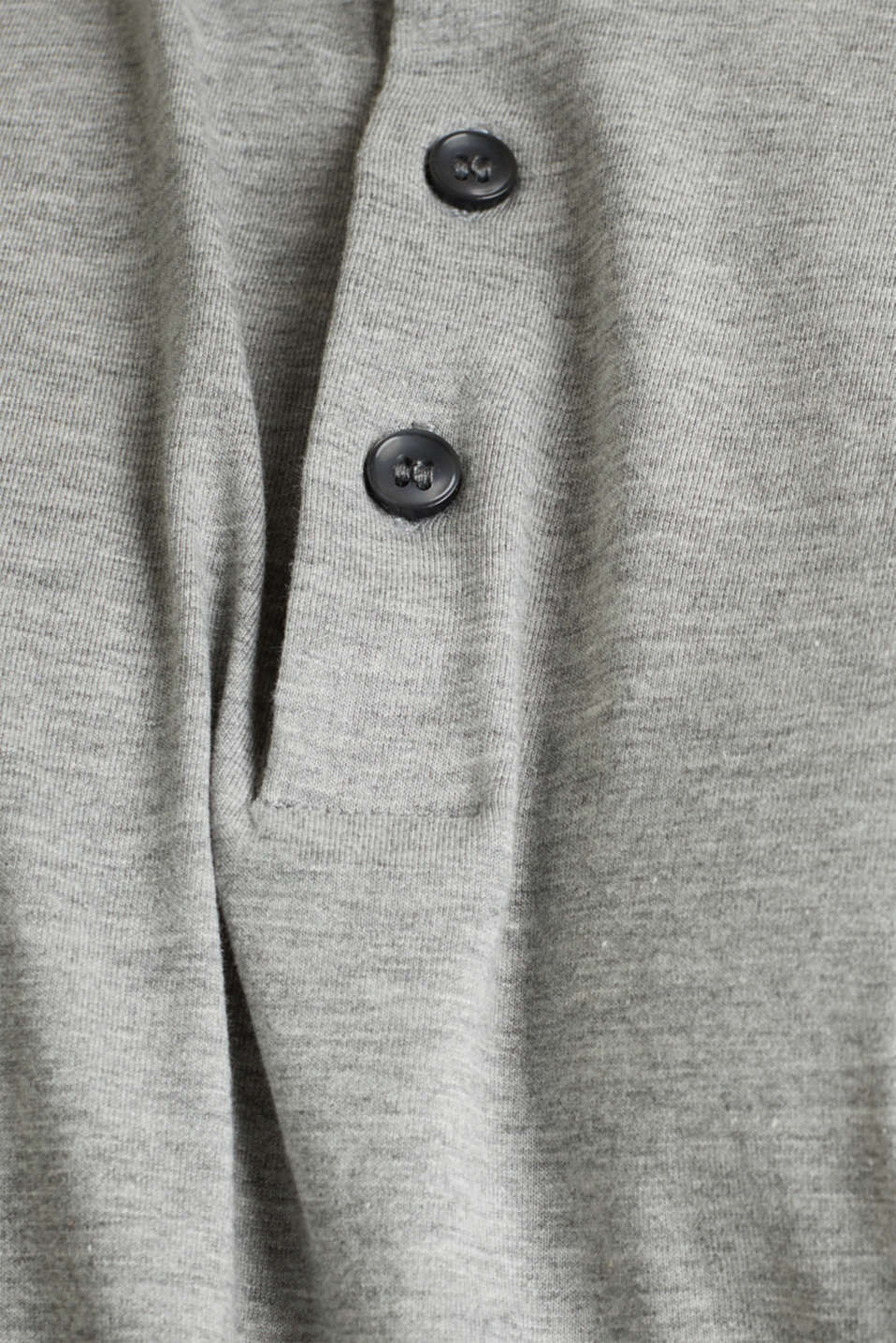 Jersey long sleeve top with a polo shirt collar, MEDIUM GREY 5, detail image number 5