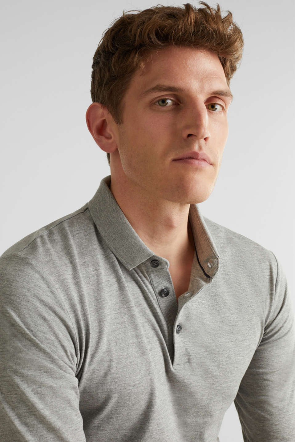Jersey long sleeve top with a polo shirt collar, MEDIUM GREY 5, detail image number 6
