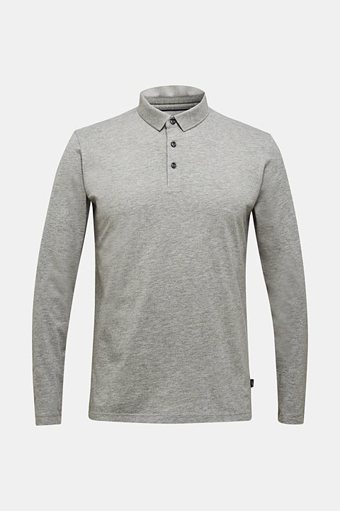 Jersey long sleeve top with a polo shirt collar
