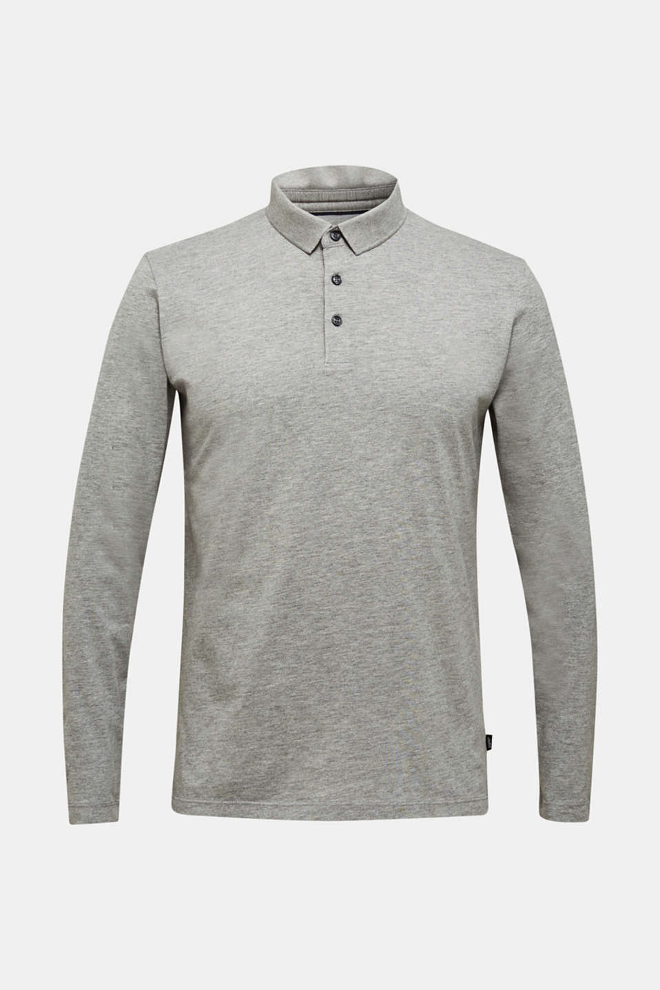 Jersey long sleeve top with a polo shirt collar, MEDIUM GREY 5, detail image number 7