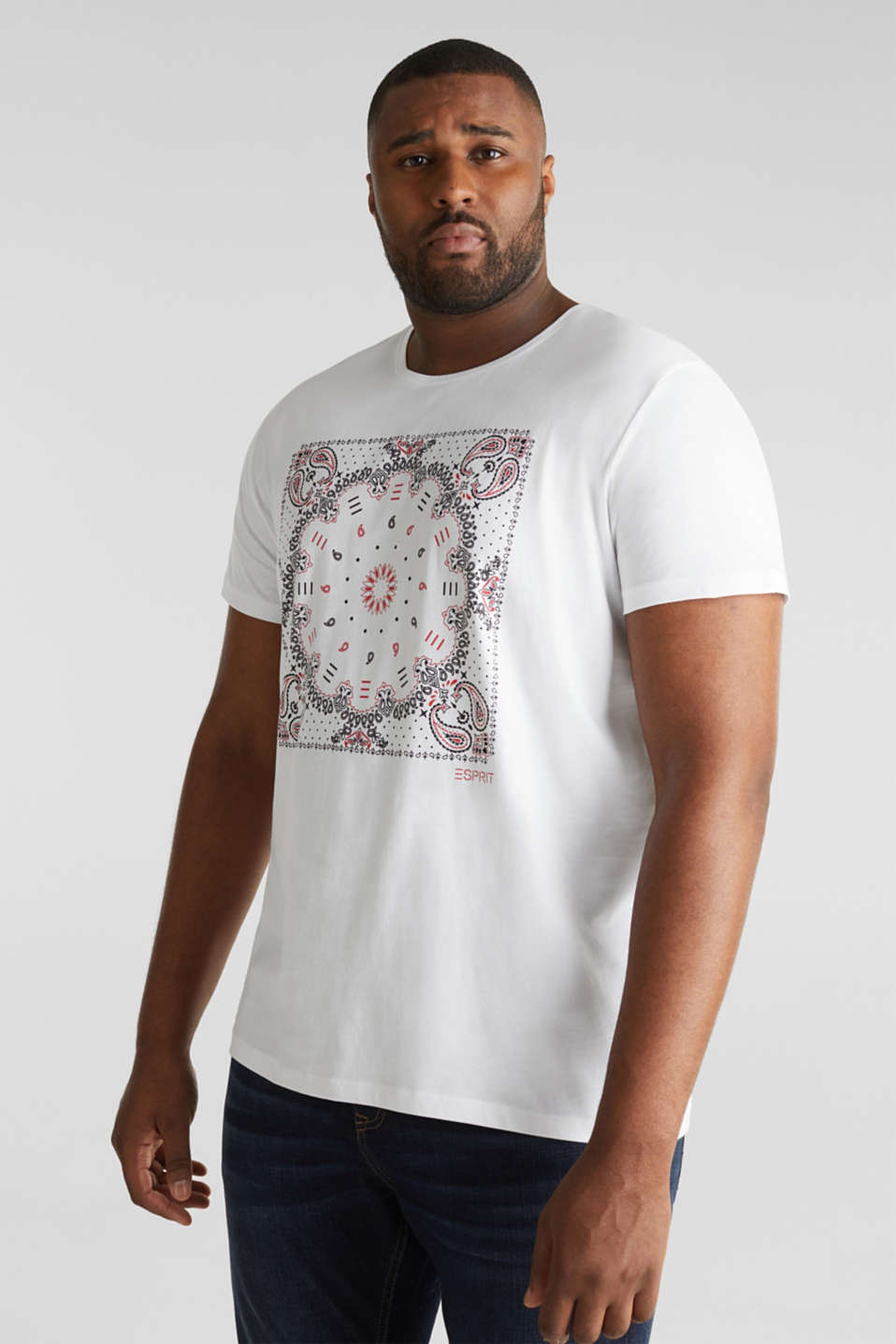 Jersey T-shirt with a bandana print, 100% cotton, WHITE, detail image number 0