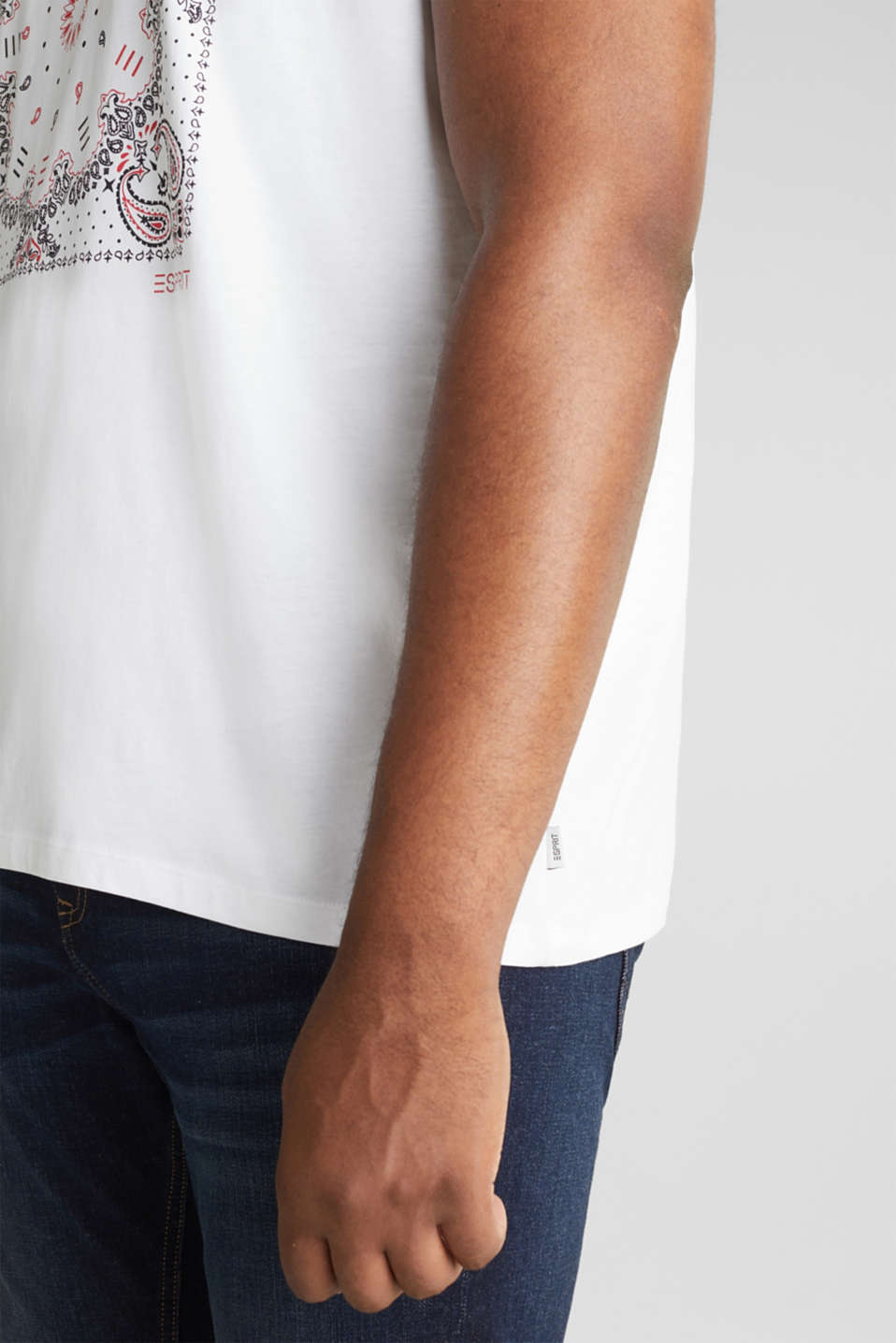 Jersey T-shirt with a bandana print, 100% cotton, WHITE, detail image number 1