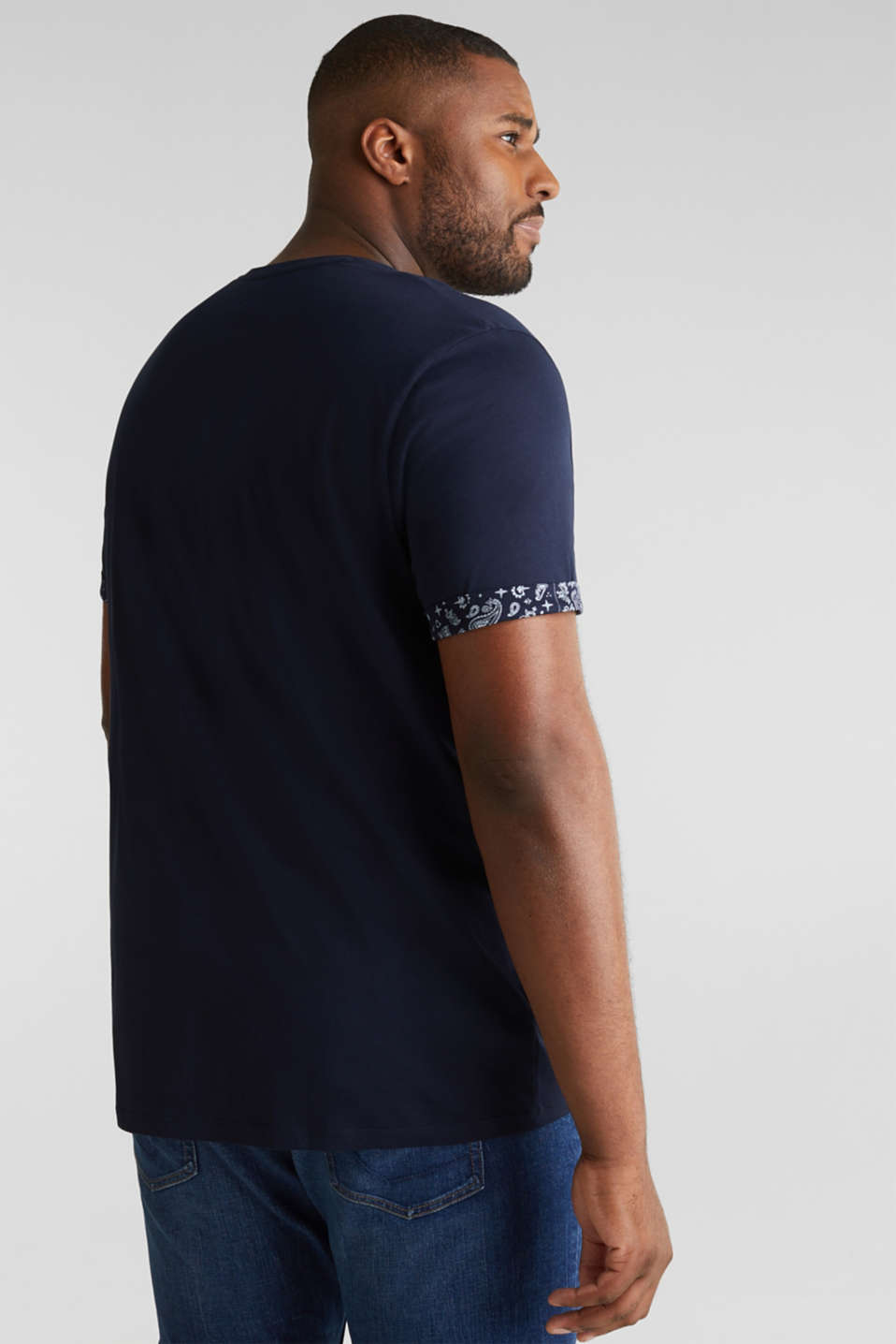Jersey T-shirt with bandana details, 100% cotton, NAVY 4, detail image number 3