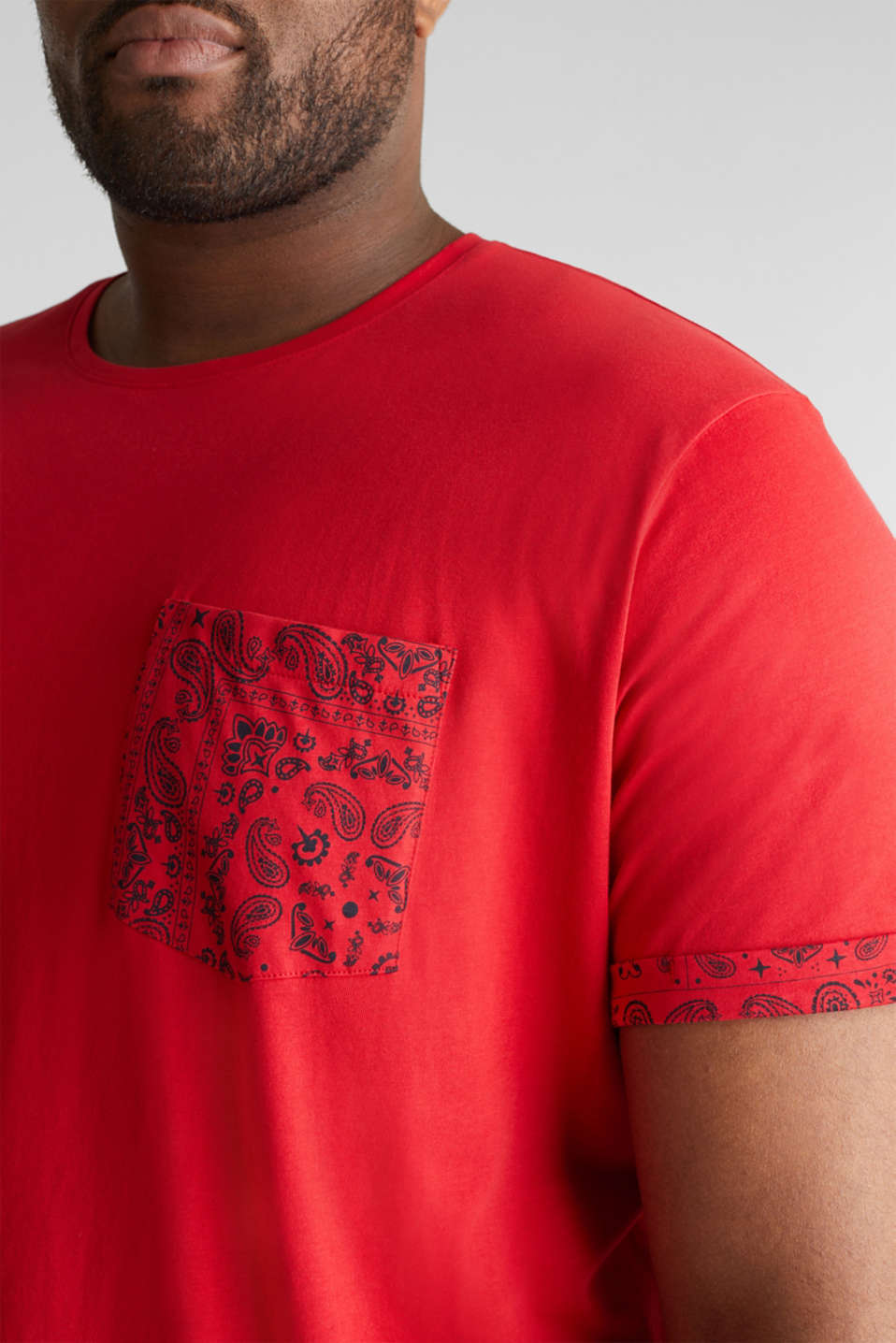 Jersey T-shirt with bandana details, 100% cotton, RED, detail image number 1