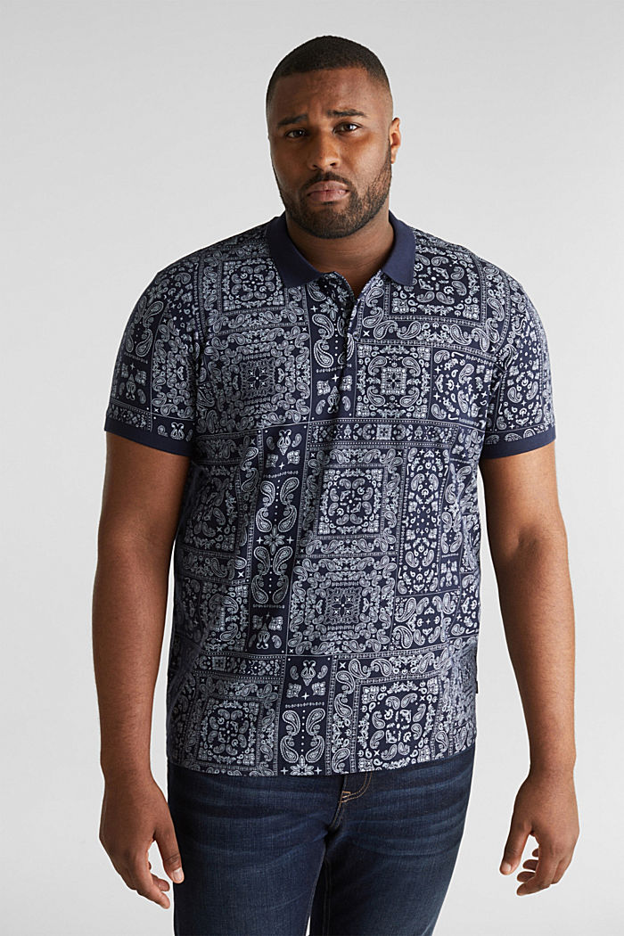 Jersey-Poloshirt mit Bandana-Print, 100% Baumwolle, NAVY, detail image number 0