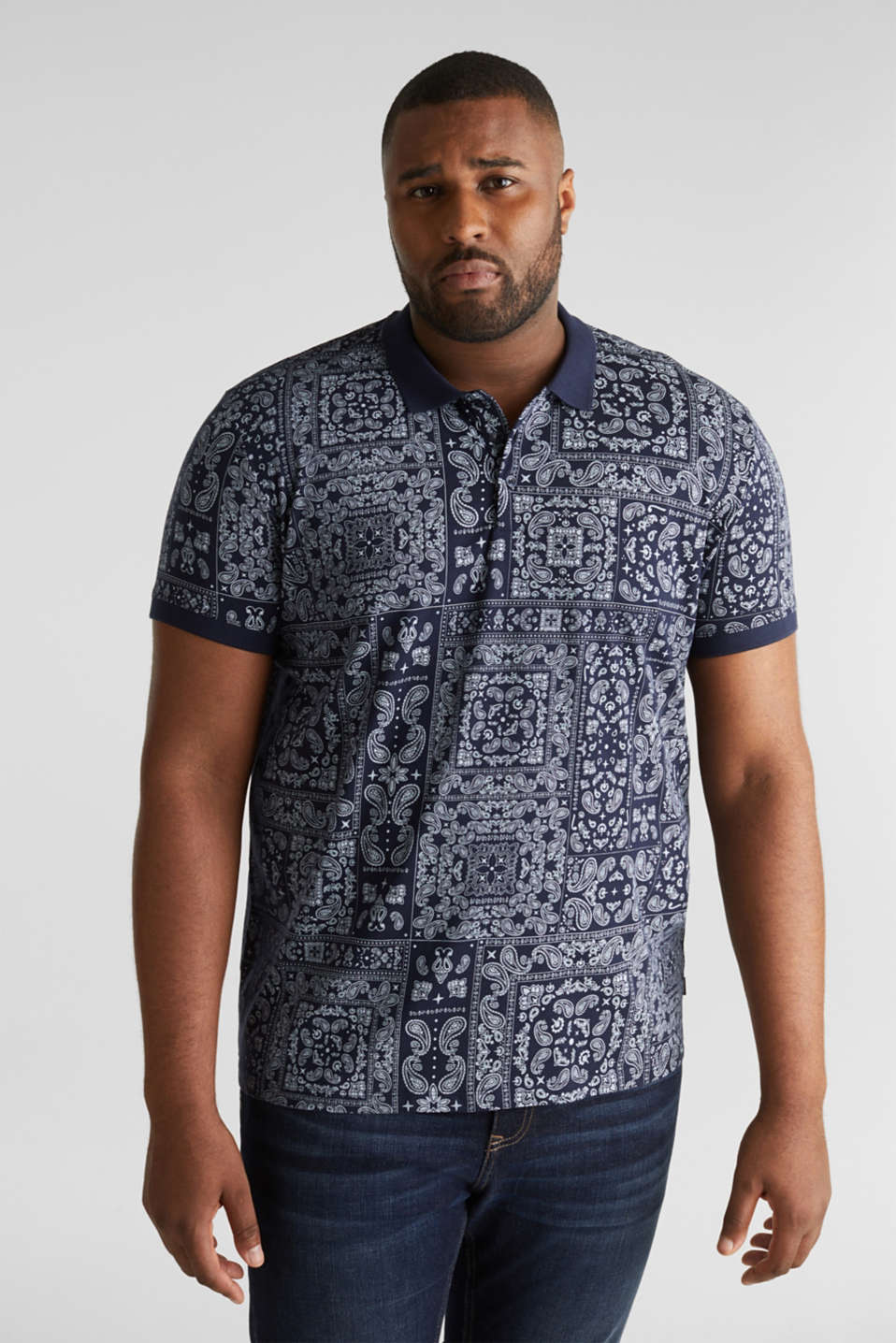 Esprit - Jersey polo shirt with a bandana print, 100% cotton