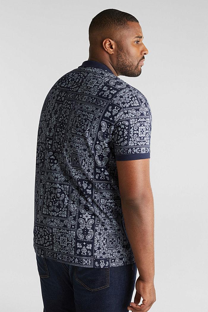 Jersey-Poloshirt mit Bandana-Print, 100% Baumwolle, NAVY, detail image number 3