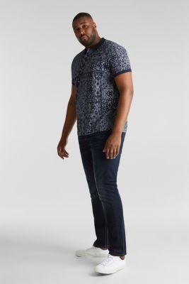 Jersey polo shirt with a bandana print, 100% cotton, NAVY 4, detail